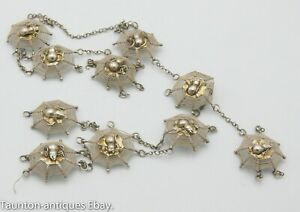 Rare Chinese Asian solid silver insect spider web necklace bracelet for repair