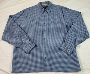 Royal Robbins Mens Button Front Shirt Blue Check Large Modal Outdoor Long Sleeve