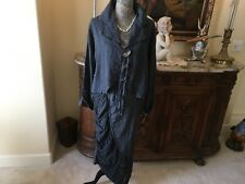 """Gorgeous Cynthia Ashby """"vintage"""" washed smoke linen skirt and jacket XS/S. 6/8 N"""