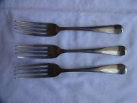 "3 x Antique Silver plated ORUBA Dessert Forks Walker & Hall, Sheffield Length 7"""