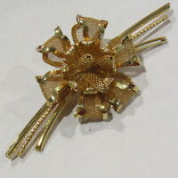 """Vintage Flower Brooch Gold Mesh High End Pin 4"""" Inches"""