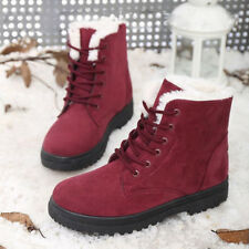Women's Winter Warm Suede Ankle Snow Boots Fur Thicken Flats Casual Shoes
