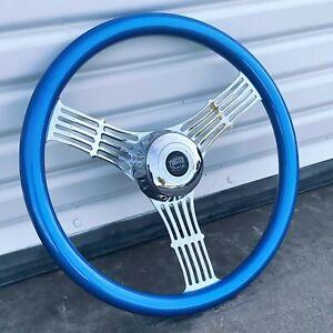 """18"""" Chrome Wood Banjo Steering Wheel Freightliner, Kenworth, Peterbilt Blue"""