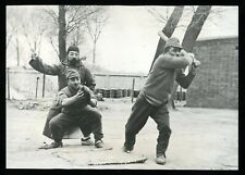 WWII 1938 Japanese Soldiers Playing Baseball North China Original Wire Photo