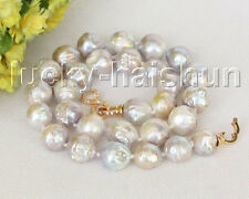 "Baroque natural 18"" 16mm gray Reborn keshi pearls necklace j11215"