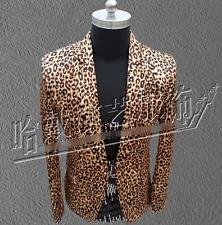 Mens Leopard Suit Blazer Nightclub Bar Coat Slim Fit Jacket Formal