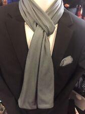 Herren Einstecktuch mit passendem Schal In  Mittel-Grau  100%Baumwolle