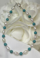 White Pearl Turquoise Medical ID Alert Replacement Bracelet!