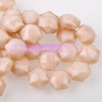 5pcs 14mm Hexagon Shape Faceted Glass Loose Spacer Beads Porcelain Beige