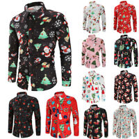 Fashion Men Casual Snowflakes Santa Candy Printed Christmas Shirt Top Blouse