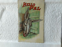 1912 Antique Postcard Hello Pal Donkey Jackass Burro Posted