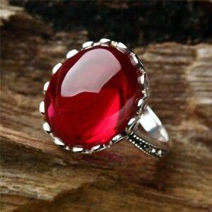 Princess Women 925Silver Ruby Gemstone Ring Engagement Wedding Jewelry Sz 6