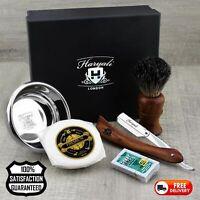 4 Pcs Shaving Set Men's Pure Black Badger Hair Brush, Razor,Bowl & Soap + Blades