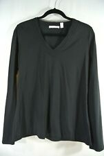 NEW Boss Cotton Blend V-Neck Top in Black - Size XL