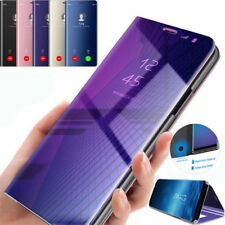 Samsung Galaxy Note 9 8 S9 S8 S7 Clear View Mirror Leather Flip Stand Case Cover