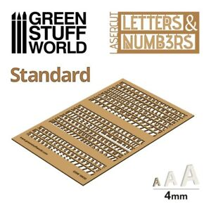 Letters and Numbers 4 mm STANDARD- Raised letter signs Miniature Bases Warhammer