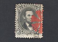 Deep Red Fancy Cancel on 15c Lincoln 1866 Scott #77