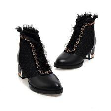 Punk Womens Block Heel Ankle Boot Fashion Rhinestone Party Wedding Sho Plus Size
