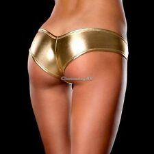Sexy METALLIC Shorts Panties Thong  GOLD Magaluf Ibiza Club Buy Now  UK STOCK