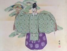Japanese Hanging Scroll Kakejiku Hand Paint Paper Noh Kimono Antique B469