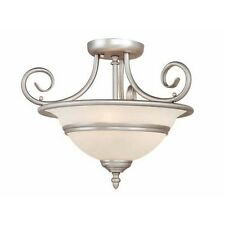 NEW 3 Light Semi Flush Mount Ceiling Lighting Fixture, Brushed Nickel, White