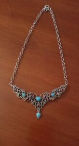 Beautiful Retired Carolyn Pollack Silver Gemstone Statement Necklace Nwot