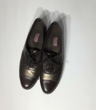 Women 's Munro American Ascot Bronze Metallic/Dark Brown Leather Shoes Se 101/2M