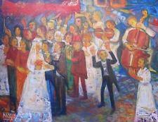 ORIGINAL ABRAHAM YAKIN SIGNED OIL ON CANVAS PAINTING  JEWISH WEDDING ISRAEL