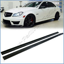 Fit 08-14 BENZ W204 C63AMG Sedan Carbon Fiber Add-On Extension 2 Side Skirts Lip