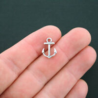 12 Anchor Charms Antique Silver Tone 2 Sided - SC4373