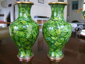 Vintage Cloisonne Pair Vases with Peonies and Chrysanthemum