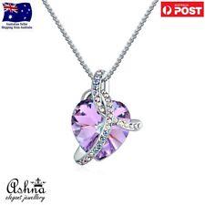 Ashna Jewellery Love Heart Purple Pendant Necklace with Swarovski Crystal Women