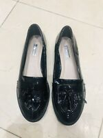Women's PRIMARK Patent Leather Black Loafers UK 5 EU38 Tassels
