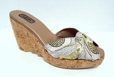 SALPY Size 8 Oriental Silk & Cork Platform Slide Sandals Shoes
