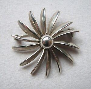 Vintage Silver Flower Daisy Brooch Denmark S Christian Fogh