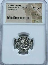 NGC Ch.XF Maximinus I Thrax AR Denarius. 235-238 AD. Rome Mint. Cuirassed bust