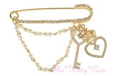 Gold Crown Heart Key Pearl Charms Kilt, Safety Pin Brooch w/ Swarovski Crystals