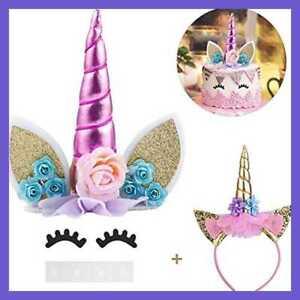 Unicorn Cake Topper Eyelashes & Headband Horn Ears unicorn theme party