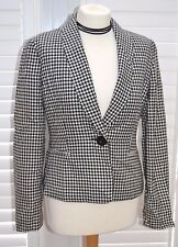 Vintage Calvin Klein Jacket Black White Houndstooth Tailored Fitted - Size 10UK