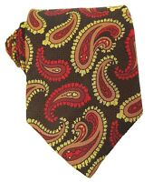Vintage 1970s Tie Paisley Brown Gold Red Woven Necktie Short and Wide
