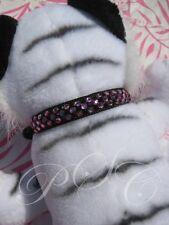 "Black & Pink Crystal Dog Collar Necklace Bling 11"" - 14"" Med Dress Up Puppy"