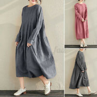 ZANZEA 8-24 Women Casual Plaid Check Pleated Dress Long Sleeve Maxi Kaftan Abaya