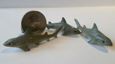 "New 3 Pc GREY SHARKS Plastic Figurine Diorama 2"" long Oceanic Life Aquarium Tank"