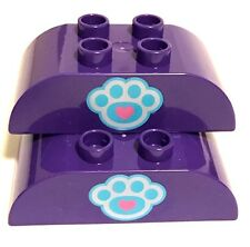 *NEW* Lego DUPLO DARK PURPLE Brick 2x4 CURVED TOP with PAW PRINT *2 PIECES*