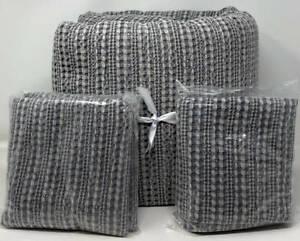 Pottery Barn Honeycomb Cotton KING Duvet Cover & 2 EURO Shams ~ Gray