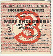 ENGLAND v WALES 16 Feb 1980 RUGBY TICKET GRAND SLAM SEASON FOR ENGLAND