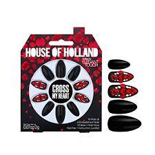 House of Holland Cross My Heart Black and Red Gem Embellished False Nails