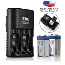 EBL 2x 600mAh 9V Li-ion Rechargeable Batteries + AA AAA 9VOLT Battery Charger