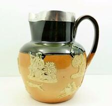 superb Victorian Royal Doulton Silver mounted Green harvest jug 1900 W Hutton sn