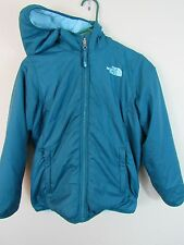 The Northface teal reverisble jacket girls Large